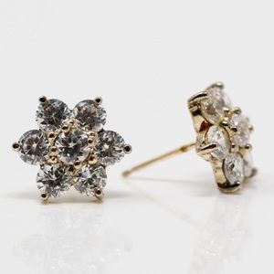 SIGNED DL 925 Gold Plated CZ Flower Stud Earrings